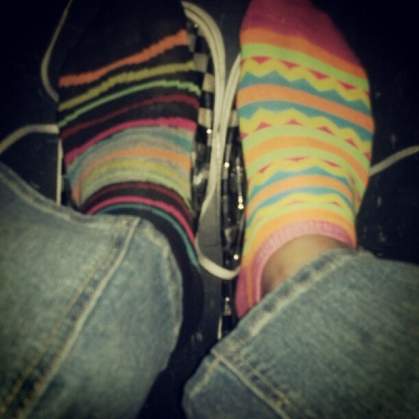 These were todays socks…forgot to picture it so I had to in the theater. #todayssocks #socks #mismatchsocks #mismatch #pink #blue #green #black #zebraprint #yellow #orange #rue21  (Taken with Instagram)