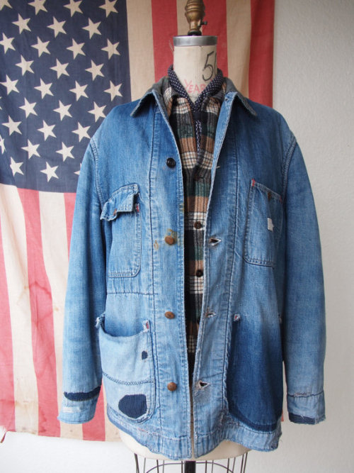 Ragged: 1950's Blanket Lined Powr House Denim Chore Jacket M/L, found on Etsy
