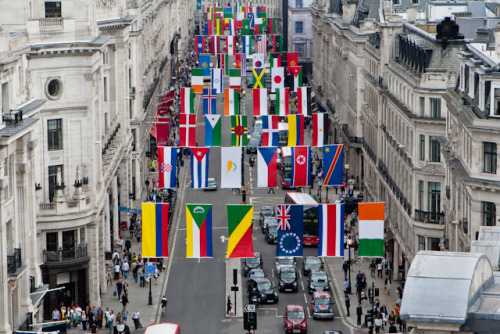 ach-nein:  158 Olympic nation flags line Regent Street.