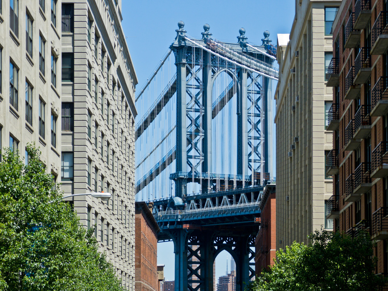 The Manhattan Bridge from Adams St. in D.U.M.B.O., New York.