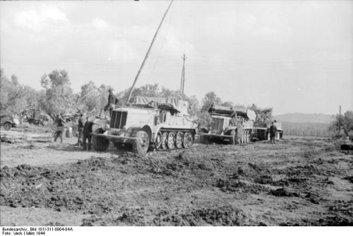 Two SdKfz 9 vehicles and a Panzer VI Tiger I, near Nettuno, Italy, March 1944. They are of Schwere Panzer-Abteilung 508, the only Tiger unit that was near Nettuno at the time.