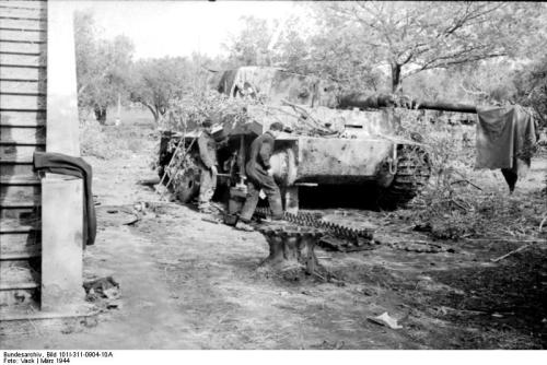 A disabled Panzer VI Tiger I near Nettuno, Italy, March 1944.