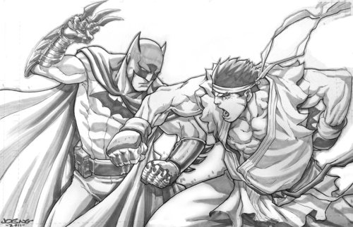 Batman vs Evil Ryu by Joe Ng