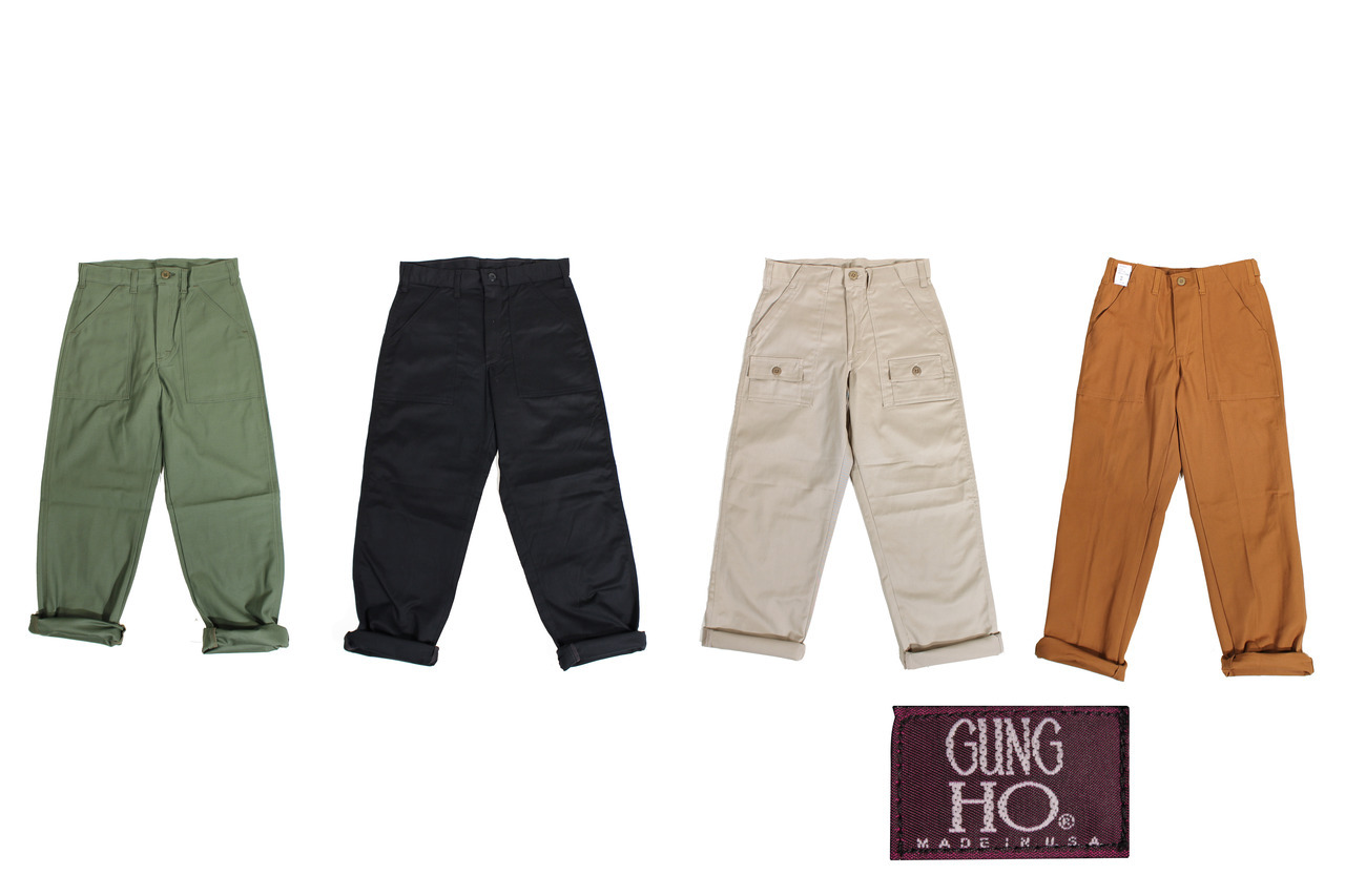 wildernessworkshop:  Now in stock: Gung Ho (aka Earl's Apparel) Four Pocket Fatigues in Black and Olive Drab, Six Pocket Expedition Pants in French Khaki, and Camp Trousers in Brown Duck. All made in the United States, all under $50.