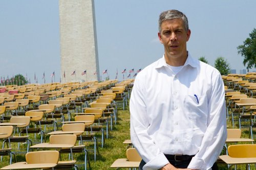 Secretary of Education Arne Duncan with 857 empty desks, which represents the number of dropouts every hour. More on the high school dropout crisis.