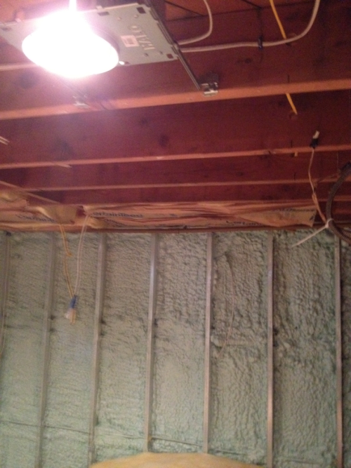 Ceiling as I started install of insulation.