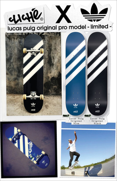 honeyanddeath:  Cliche x Adidas x Lucas Puig Skateboard Deck