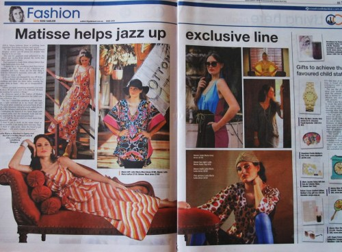 Very proud to be part of the Fashion Scene of Gold Coast! Thank you Gold Coast Bulletin for the big spread on the paper in May 2012. Leila Maria