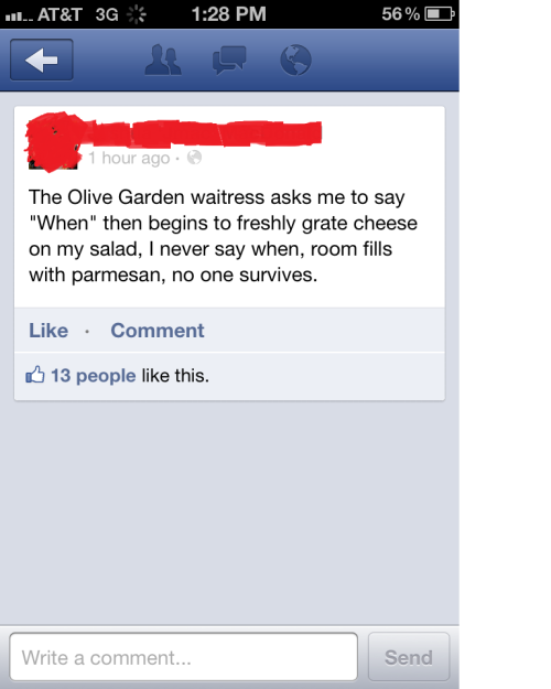 I kind of would kill for oliver garden salad, breadsticks, and black tie mousse cheescake.