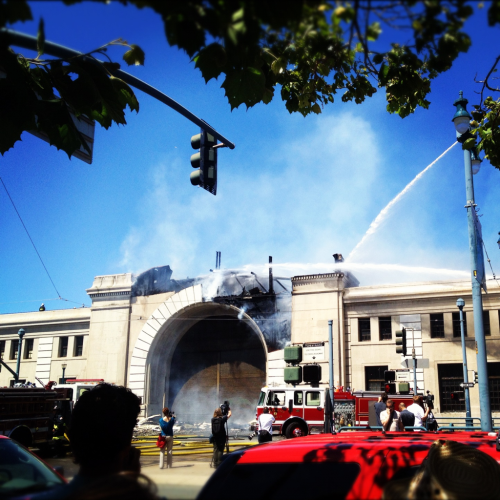 There was a fire today on the Embarcadero.  This used to be Pier 29.