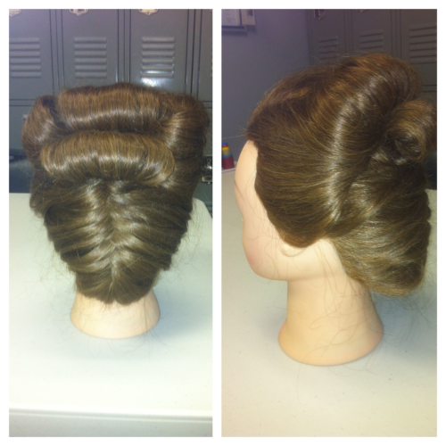 hnmohmy:  Updo with a fishtail braid up the back