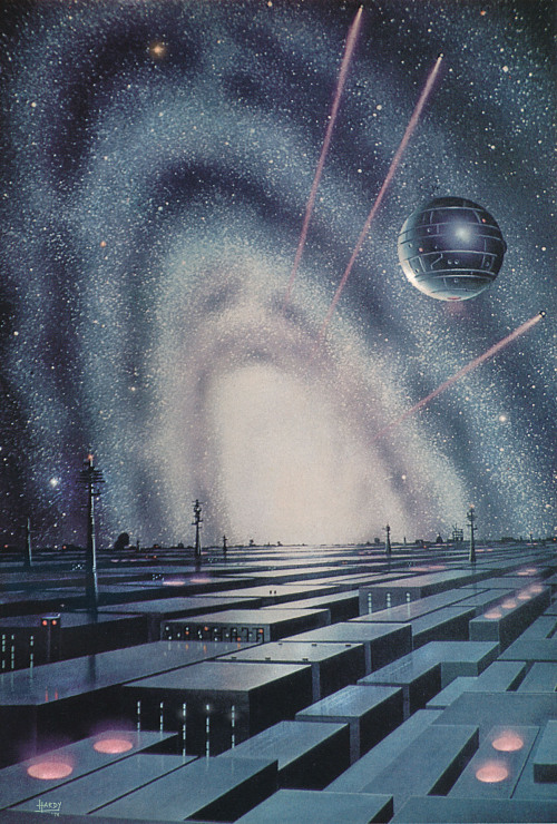 'Metal Planet' by David A Hardy. Painted in 1974 before Star Wars. I've been admiring this painting ever since I spotted it in Future magazine in 1978. Thirty four years later I contacted the artist in the slim hope the original painting might be available for sale. Alas, Mr Hardy sold it years ago. © David A. Hardy astroart.org