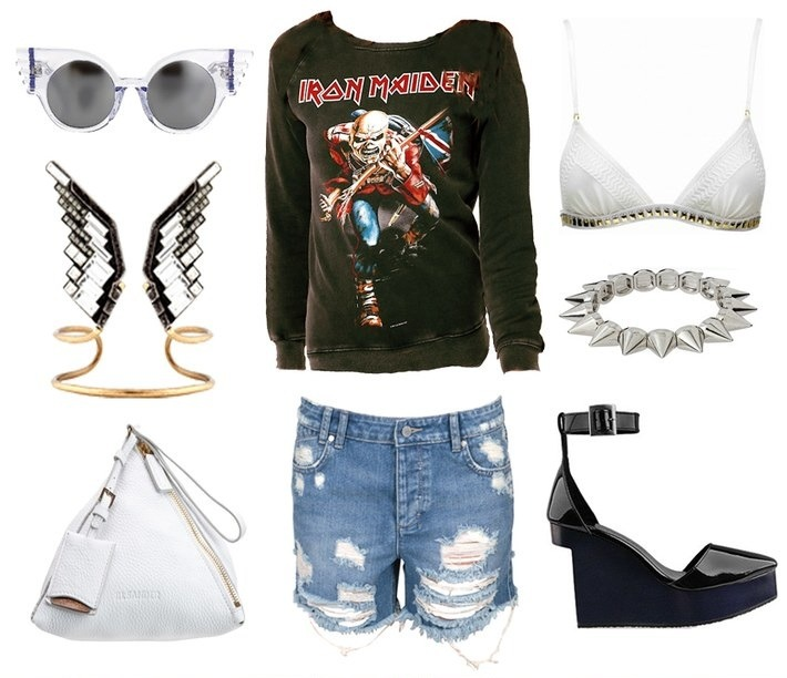1. Linda Farrow for Jeremy Scott sunglasses    2.  Asos Iron Maiden Sweater    3.  Sass & Bide 'Farewell & Goodnight' Bra    4. Asos 'Spike' Bracelet    5. Shakuhachi Pointed Patent Heels   6. Insight Distressed Denim shorts    7. Jil Sander Triangle Bag - similar 'here'  8. Lanvin Eagle Cuff (image: oraclefox)