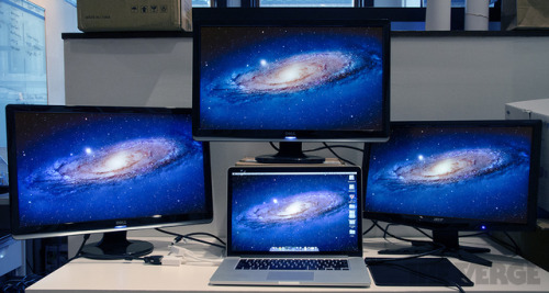 MacBook Pro with Retina display can drive four screens simultaneously That's 10.7 million pixels at once