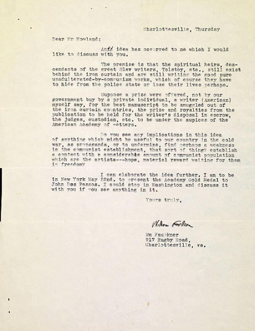 Letter from William Faulkner to Harold Howland, c.1956-58