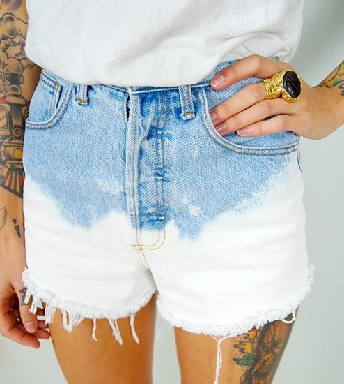 Dip-dyed denim shorts.