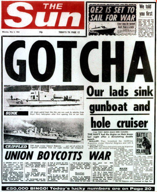 The Sun's front page on 4 May 1982