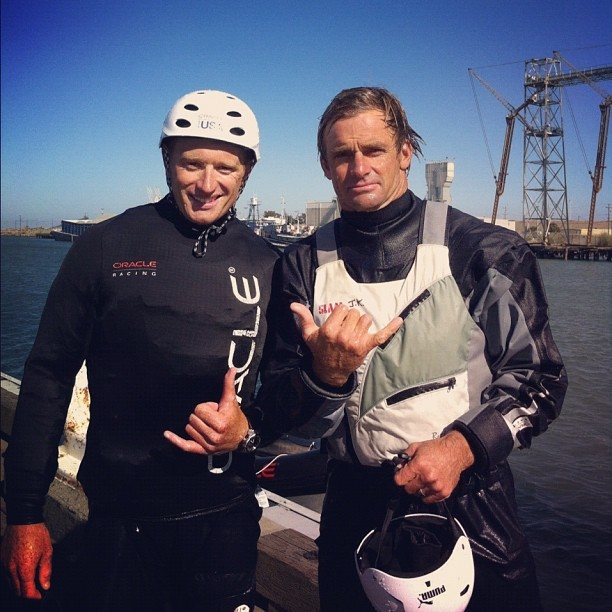 Laird Hamilton @LairdLife joins @oracleracing Jimmy Spithill for #ac45 spin in #sanfrancisco (Taken with Instagram)