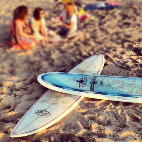 Beach Yoga & Surfing.  (Taken with Instagram)