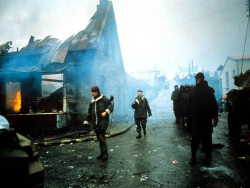 1982, Falklands War - British soldiers in Port Stanley, the battle-scarred capital of the Falklands.