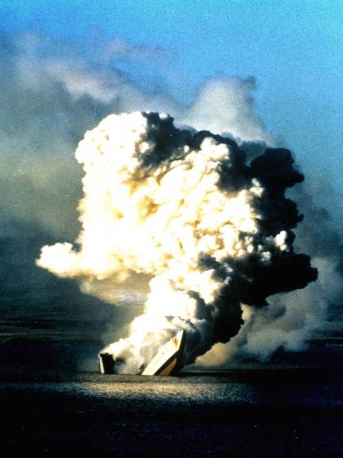 May 1982 - The HMS Antelope sinks after being struck by two bombs the day before.
