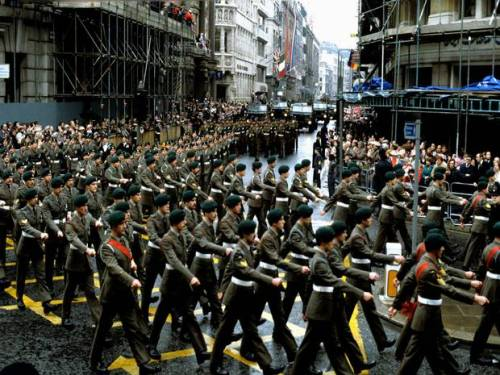 Soldiers march through London in the Victory Parade following the Falklands war.