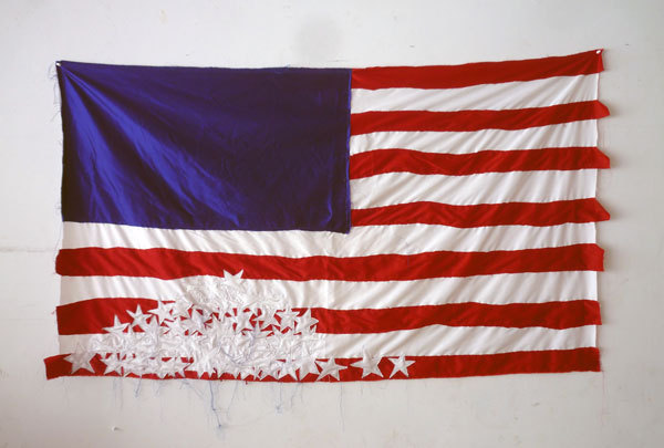 "Brian Kenny, Deconstructed Flag #1 (Fallen Stars), 2012, cotton and thread, 72"" x 42"" Exhibition, The Hole Truth, June 20 - July 22, 2012 at Envoy enterprises"