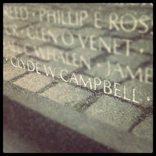my grandfather's name on the vietnam veterans memorial. #campbell (Taken with Instagram)