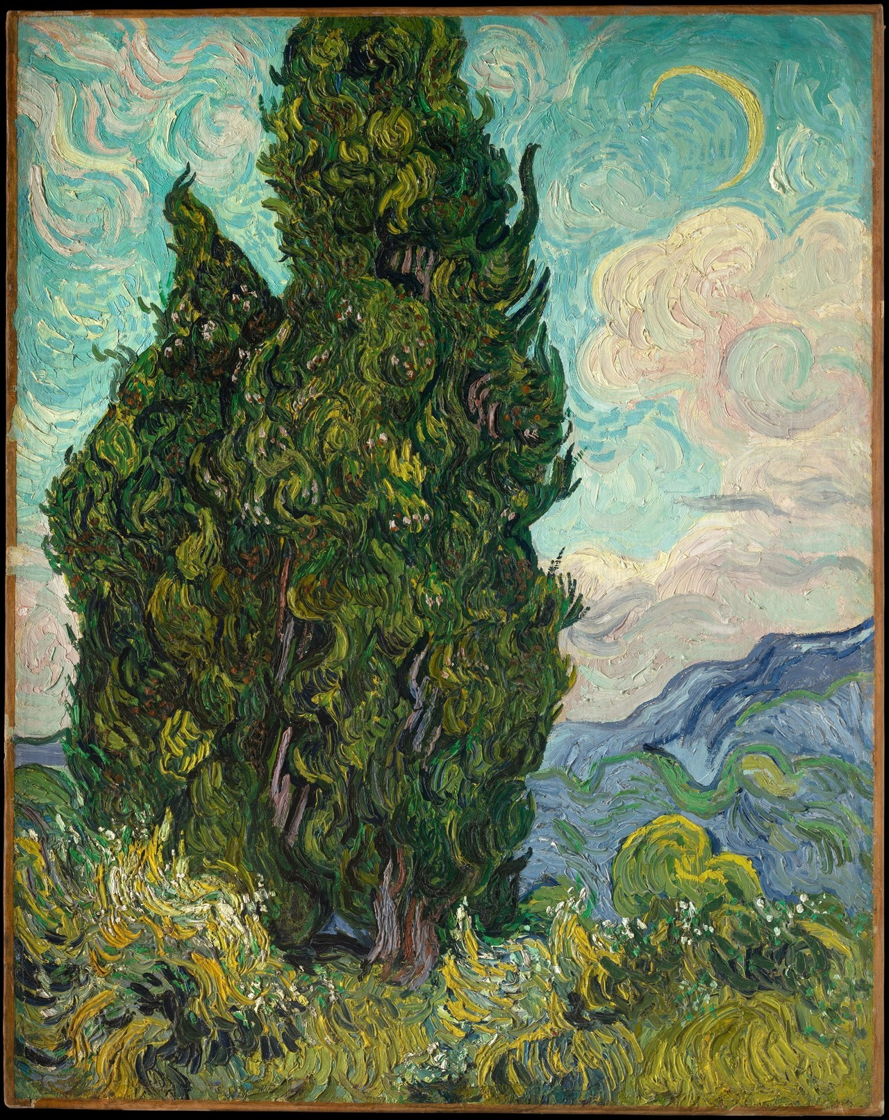 artpedia:  Vincent van Gogh - Cypresses, 1889. Oil on canvas