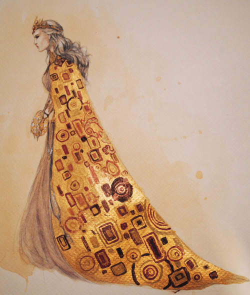 lady-of-faerietales:  Daenerys Targaryen, Klimt-style.  Just a fun afternoon painting inspired by ASOIAF.