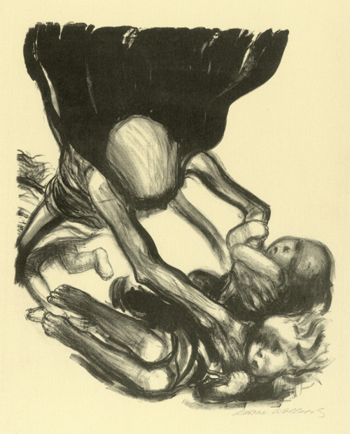artaddictsanonymous:  Käthe Kollwitz, Death Grabbing at Group of Children, 1934
