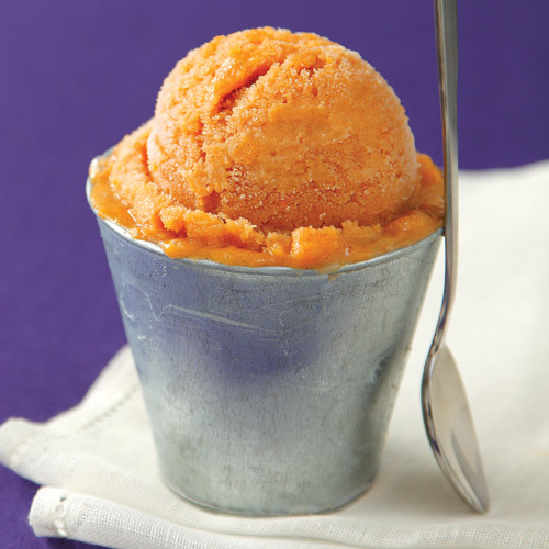 Clean Eating Magazine's Sweet Potato Ice Cream How yummy does this look!  Can't wait to try this recipe, perfect for summer solstice and full of nutrients and deliciousness.  INGREDIENTS: 1 large sweet potato, peeled and sliced into ½-inch-thick piece 1/2 cup pure maple syrup 2 cups low-fat, unsweetened oat milk 1/2 cup raw honey 1 tsp pure vanilla extract 1 tsp pumpkin pie spice Directions: Preheat oven to 350°F. Place potato in a 10 1/2 x 7-inch baking dish. Pour maple syrup over top and toss until well coated. Spread in a single layer and bake until very tender, without turning, for 30 minutes to 1 hour. Remove from oven and immediately transfer to refrigerator. Refrigerate overnight to further soften potato. In the bowl of a food processor, purée potato until creamy, about 4 minutes. With a rubber spatula, scrape bowl to prevent syrup from settling on the bottom. Add milk and blend, then add honey, vanilla and pumpkin pie spice and process until mixture turns from dark orange to light orange in color and becomes creamy, about 4 minutes. Pour mixture into a 9 x 9-inch metal cake pan and freeze for 12 hours, until solid. To serve, remove from freezer and let rest for about 5 minutes, until scoop-able. Nutrients per 1/3-cup serving: Calories: 110, Fat: 0.5 g, Sat. Fat: 0 g, Carbs: 27 g, Fiber: 1 g, Sugars: 23 g, Protein: 1 g, Sodium: 26 mg, Cholesterol: 0 mg