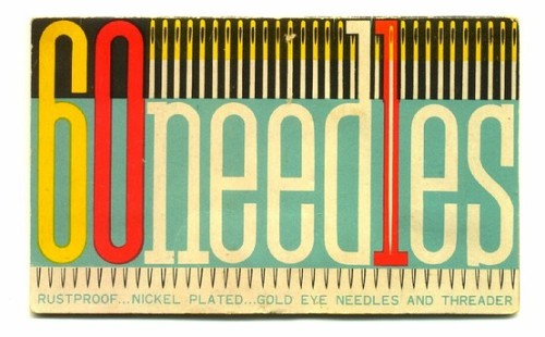 60 Needles: Vintage packaging via Present & Correct,  who constantly posts awesome vintage stuff.