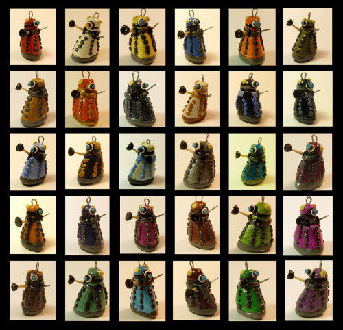 savethewailes:  Some of the kinds of daleks in the big batch I made for summer shows. I'm sure I've probably forgotten to photograph some of the kinds I made, but oh well.  They're $8 each, and are about an inch tall. They all come with a little loop on their heads so you can hang them from things. The first 16 are from the series, the last 14 are just some fun colored ones.  Enjoy! :D  HURP DERP I added some of the daleks that I forgot to photograph!