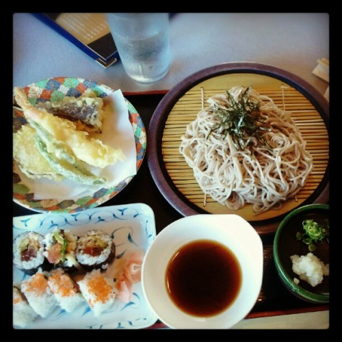 Bday dinner! Zaru Soba, Tempura, Cali/Volcano Roll combo. ^_^ (Taken with Instagram)