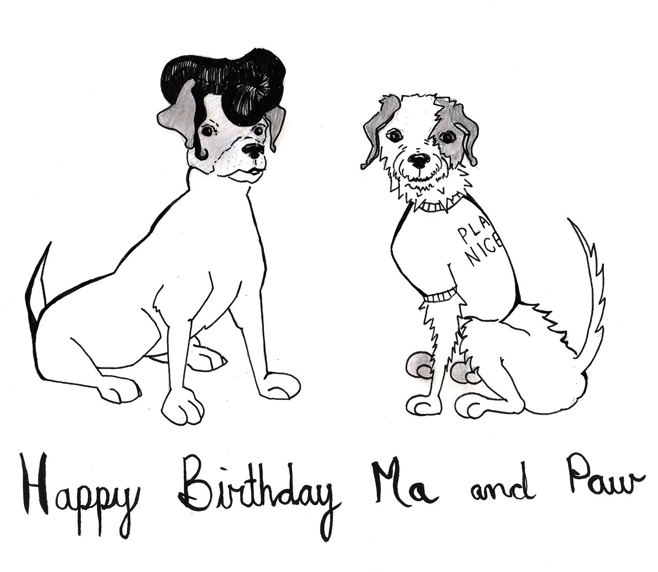 "Little bday gift for my mom and dad, june 20th and 27th… They have 2 dogs, my dad likes Elvis and my mom wore a shirt that said ""play nicely"" my whole adolescents. Happy 66th to them!!"