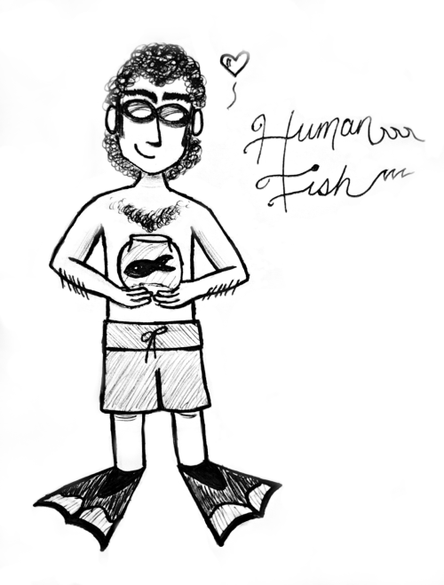 andreastreeter:  Finally did a Human Fish doodle. He turned out pretty adorable. HAPPY 1-YEAR ANNIVERSARY, CHRIS GETHARD SHOW!!! (Not bad for pencil/pen, camera and a free photo editing website.)