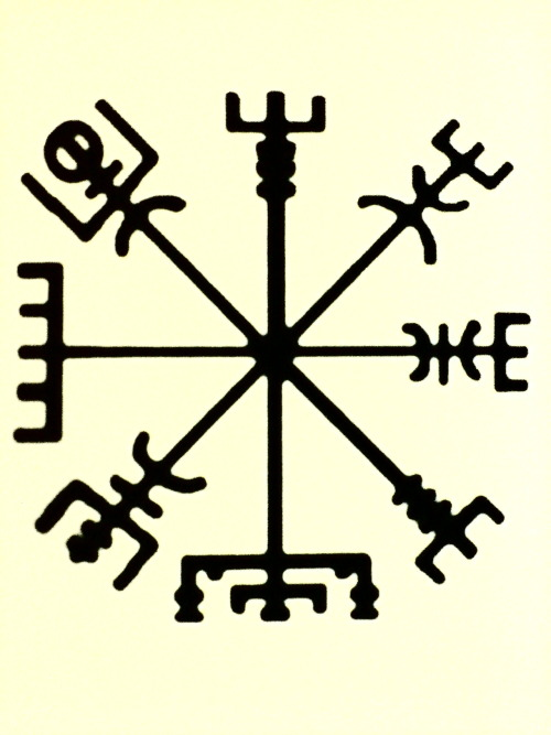 "A Vegvísir (Iceland 'sign post') is an Icelandic magical stave intended to help the bearer find their way through rough weather. The symbol is attested in the Huld Manuscript, collected in Iceland by Geir Vigfusson in 1880 (but consisting of material of earlier origin). A leaf of the manuscript provides an image of the vegvísir, gives its name, and, in prose, declares that ""if this sign is carried, one will never lose one's way in storms or bad weather, even when the way is not known."""