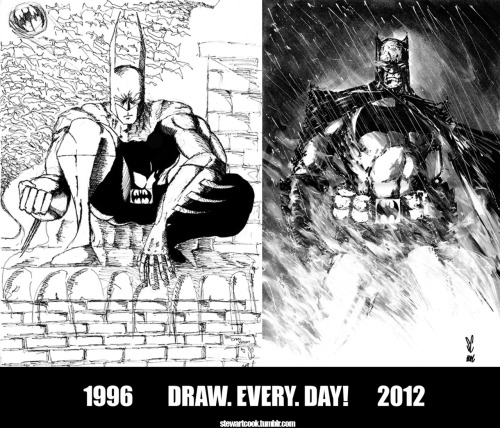 stewartcook:  I recently came across an old Batman piece I had drawn way back in 1996 (yeah I'm that old already). When compared to a more recent drawing I couldn't help but smile a little at the leap I've taken with my work (sometimes it hard to see the woods for the trees) and I made this. Hope it gets someone out there drawing!