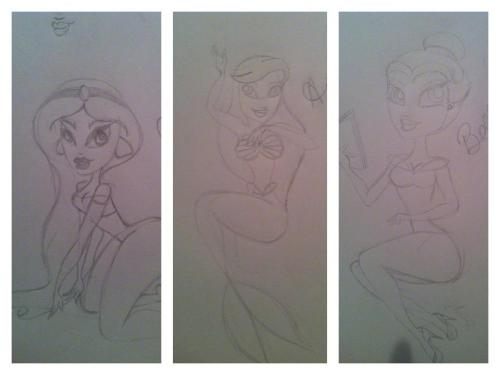 krenee-design:  My (very) rough sketches for my Disney pinups so far: Jasmine from Aladdin, Ariel from The Little Mermaid, and Belle from The Beauty and the Beast.Thinking Jasmine is my favorite so far, especially since she's a little more developed than the other two. Might change Ariel's pose completely, and I'm not happy with Belle's hair or her legs at all.  Used some of Kinkei's illustrations for reference with the poses. I absolutely adore her work and I draw a lot of inspiration from her style.  Feedback, anyone? I'd love any (constructive) criticism you have to offer!