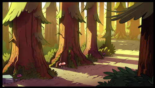 ellemichalka:  One of the BG's that I painted for the Gravity Falls intro! Ink and layout by the amazing Ian Worrel.