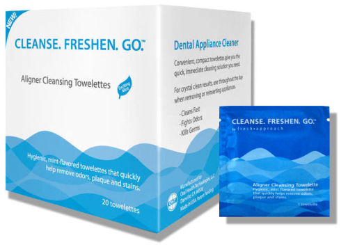 Got Dirty Invisalign? Cleanse Freshen Go Wipes clean them up fast! Throw a few into your purse or pocket and keep your Invisalign clean anywhere, anytime. Kills germs, leaves your Invisalign or other dental appliance clean and odor free. Great for travel! Grab a box at http://www.dentakit.com/clfrgoto.html