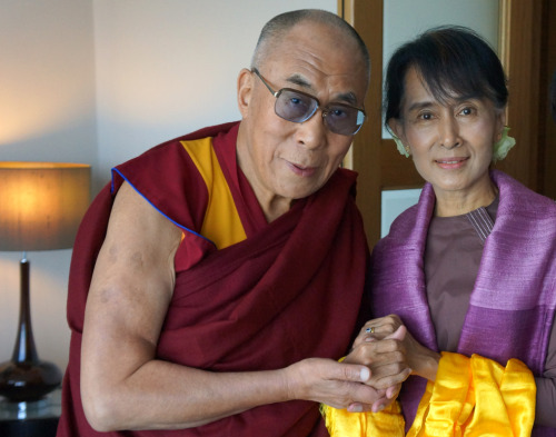 His Holiness the Dalai Lama with Aung San Suu Kyi in London, England, on 19 June 2012