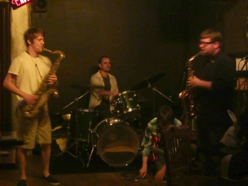 on the 17th at Freddy's in BKLN. Cam Collins - alto; Devin Gray - drums; Dave Miller - guitar. FUN NIGHT. thanks to Adam Hopkins for Out Of Your Head and for the photos.  SHAKESHAKESHAKE