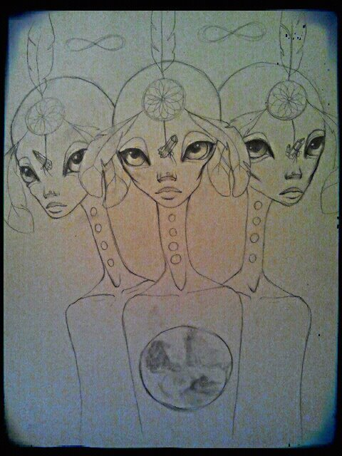 the beginning of my next painting. i see these beings in my dreams.