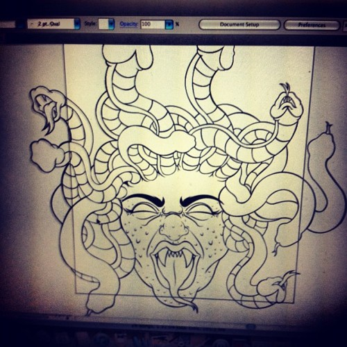 More progress in the medusa shield for my upcoming piece. #sizequeen #artwork #mythology #greekgods #medusa #art #showcase  (Taken with Instagram)