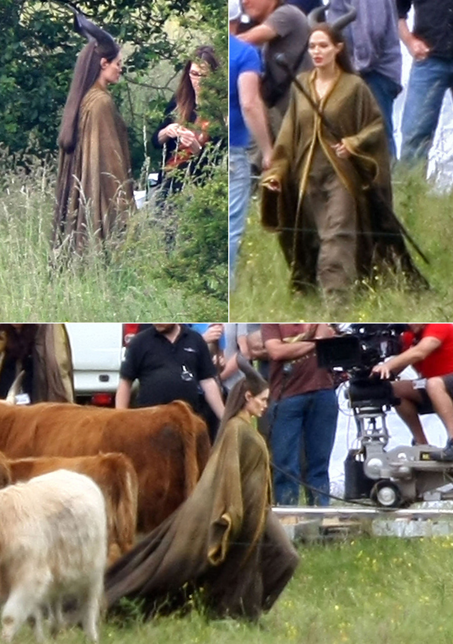 Angelina Jolie filming Maleficent in England, June 20th