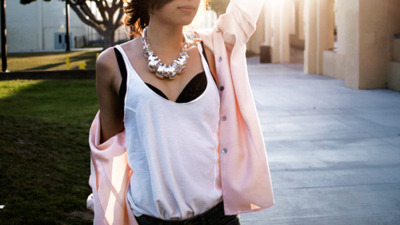 Bra,Brunette,Cardigan,Fashion,Girl,Hair,Necklace,Skirt,Street,Light,