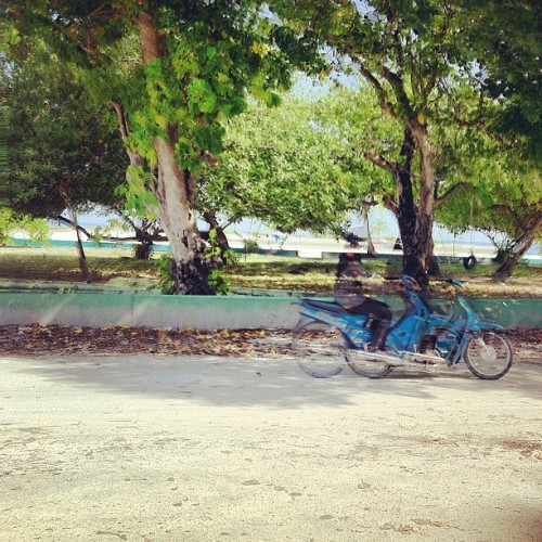 Hurry to get somewhere ! #maldives #L.atoll #women #bike #30like  (Taken with Instagram)