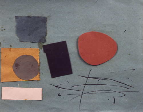 antonioladrillo:  Victor Pasmore Abstract in Blue, Brown and Crimson, 1960. Ink and collage on paper, 18 x 23 cm